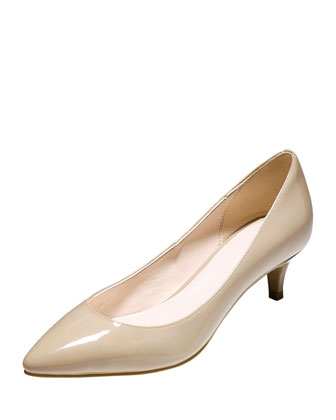 Juliana Patent Low-Heel Pump, Maple Sugar
