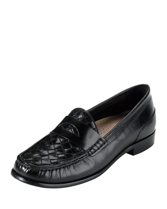 Laurel Woven Leather Moccasin, Black