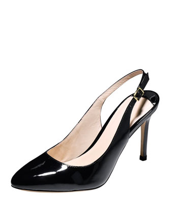 Bethany Patent Leather Slingback Pump, Black