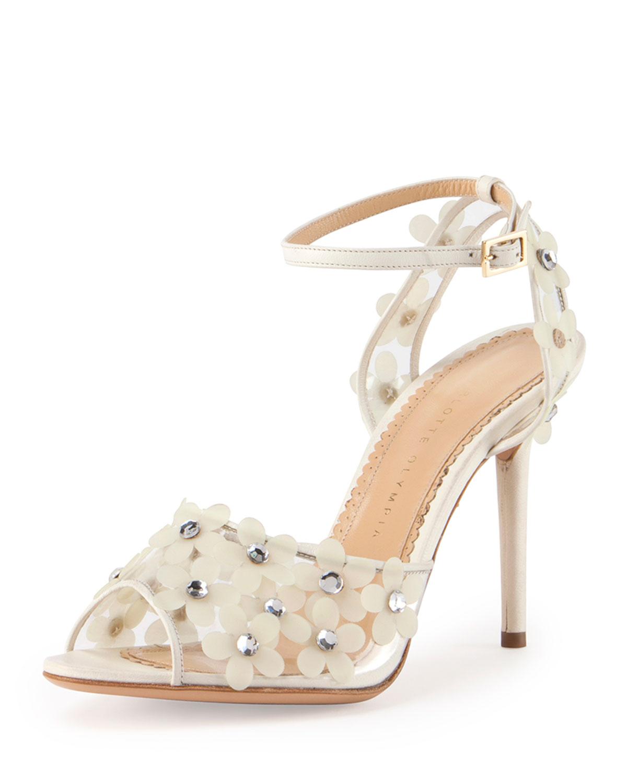 Daisy PVC Ankle-Wrap Sandal, Size: 35.5B/5.5B, Bone White - Charlotte Olympia