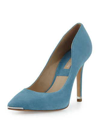 Avra Suede Point-Toe Pump, Cornflower