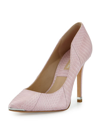 Avra Snake Point-Toe Pump, Blush