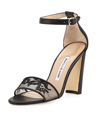 Lauratop Lace Chunky-Heel Sandal, Black