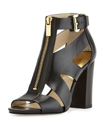 Anya Zip-Front Cutout Sandal, Black