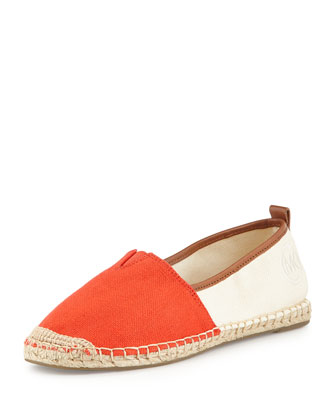 Meg Slip-On Espadrille Flat, Mandarin/Natural