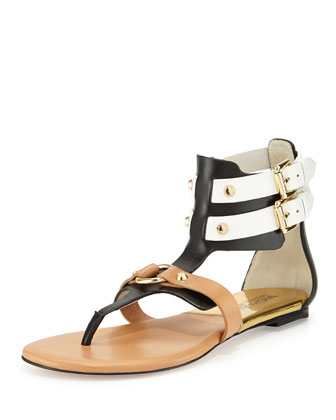 Nadine Gladiator Thong Sandal, White/Black/Suntan