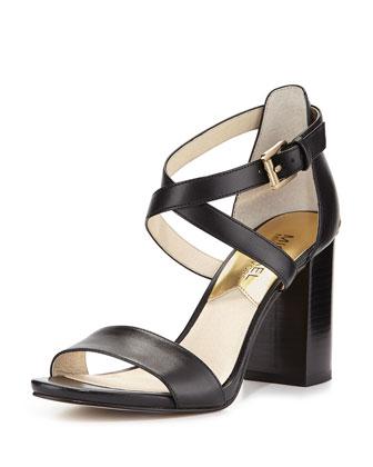 Nadja Cross-Strap City Sandal, Black