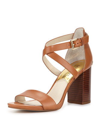 Nadja Cross-Strap City Sandal, Luggage