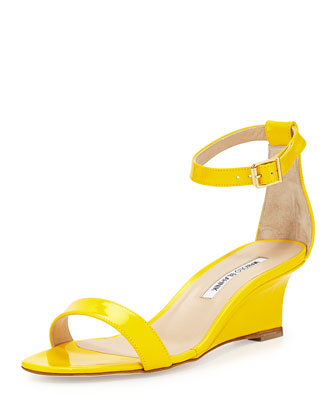 Valere Patent Demi-Wedge Sandal, Yellow