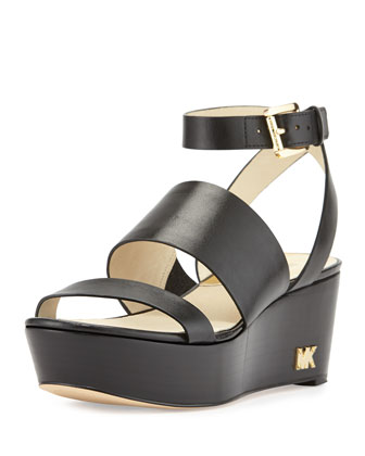 Poesy Leather Platform Wedge Sandal, Black