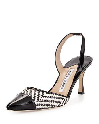 Carolyne Patent-Toe Woven Mid-Heel Pump, Black/White