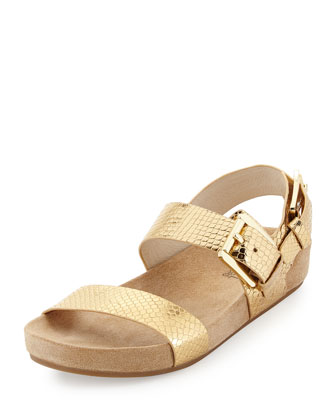Sawyer Snake-Print Double-Band Sandal, Pale Gold