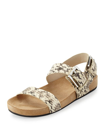 Sawyer Snake-Print Double-Band Sandal, Natural