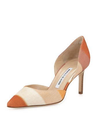 Tayler Striped Linen d'Orsay Pump, Beige