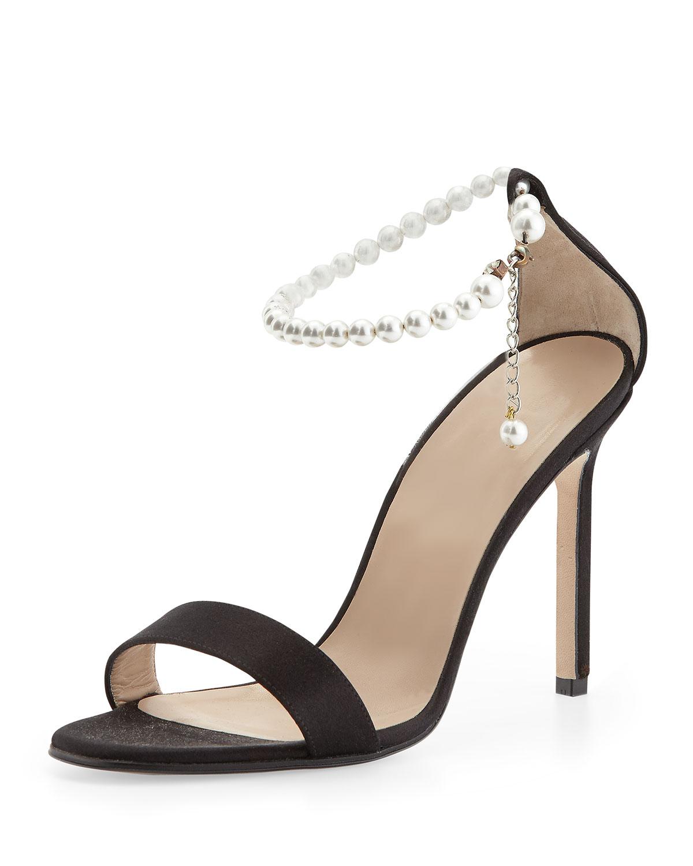 Chaos Pearly Ankle-Wrap Sandal, Black, Women's, Size: 39.0B/9.0B - Manolo Blahnik