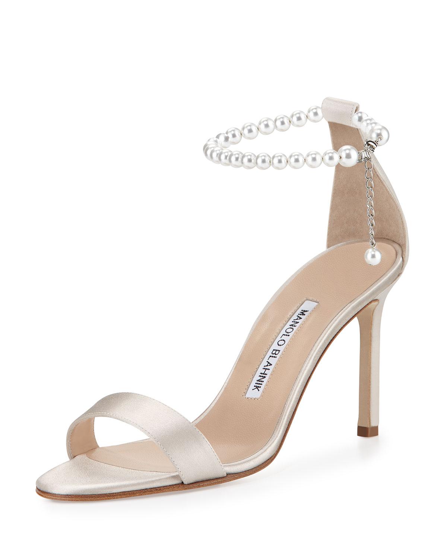 Chaos Pearly Ankle-Wrap Sandal, Champagne, Women's, Size: 36.0B/6.0B - Manolo Blahnik