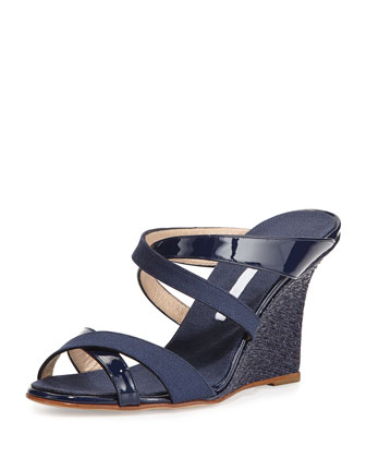 Varchi Patent Leather and Linen Crisscross Wedge Sandal, Navy