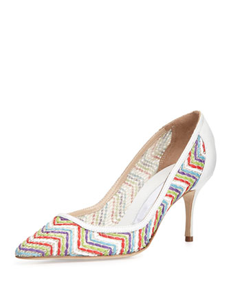 Arina Leather Zigzag Pump, Multi/White
