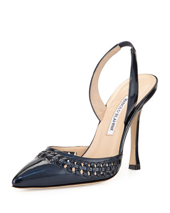 Nave Woven-Trim Patent Leather Pump, Navy