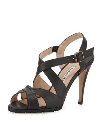 Etola Leather Crisscross Sandal, Black