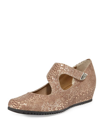 Shirlee Snake-Embossed Grip-Strap Wedge, Bronze
