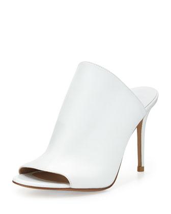 Burnett Leather Mule Slide, Optic White