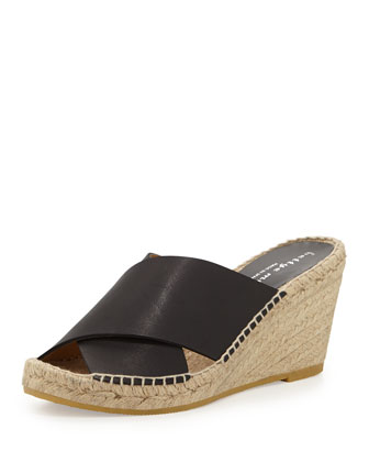 Dijon Cross-Strap Mule Wedge Espadrille