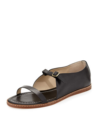 Flavor Leather Flat Sandal, Black