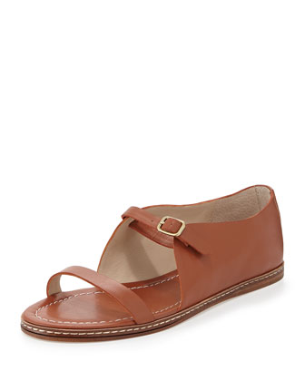 Flavor Leather Flat Sandal, Cuoio