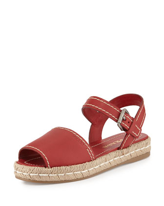 Leather Flat Espadrille Sandal, Scarlatto