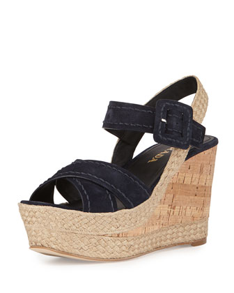 Suede Platform Wedge Sandal, Blue