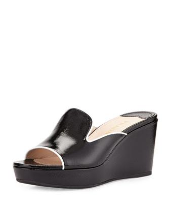 Saffiano Patent Wedge Slide Sandal, Nero