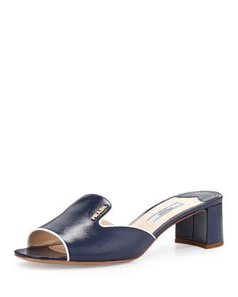 Patent Saffiano Slide Sandal, Royal/Bianco