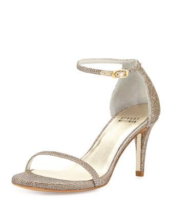 Naked Glitter Mid-Heel Sandal, Platinum