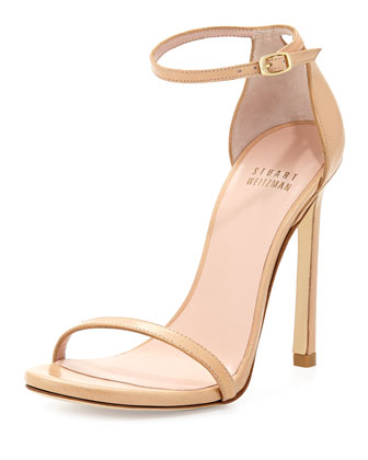 Nudist Leather Ankle-Strap Sandal, Adobe