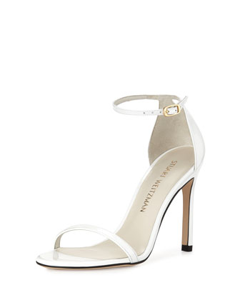 Nudist Metallic Ankle-Strap Sandal, White