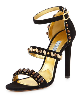 Embroidered Triple-Strap Sandal, Nero