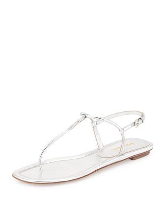 Metallic Thong Sandal, Argento