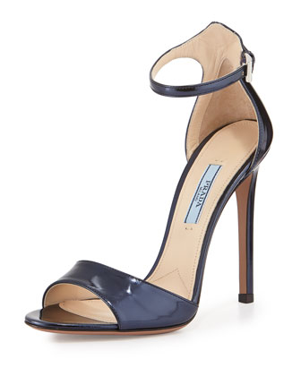 Metallic Two Band Sandal, Oltremare