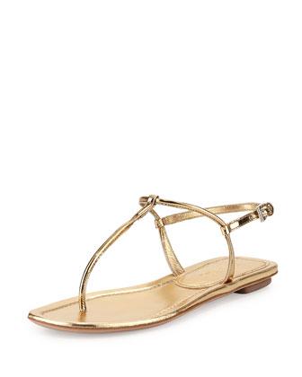 Metallic Flat Thong Sandal, Platino