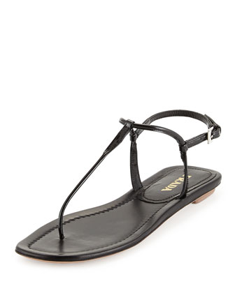 Patent Thong Sandal, Black