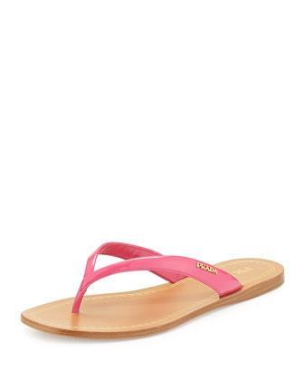 Patent Logo Thong Sandal, Peonia