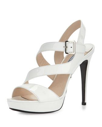 Patent Asymmetric Sandal, Bianco