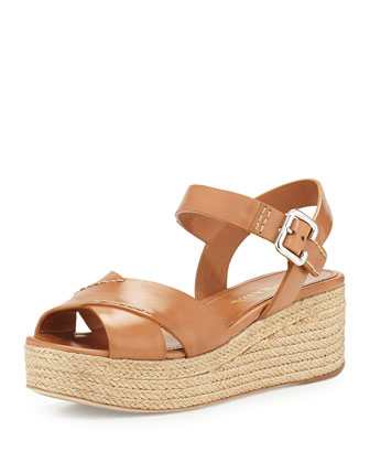Leather Crisscross Platform Sandal, Natural