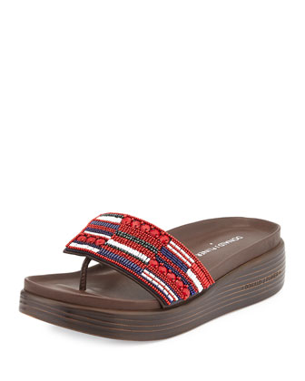 Fifi Beaded Slide Sandal, Tomato