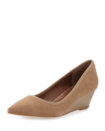 Heidy Low-Wedge Suede Pump, Taupe