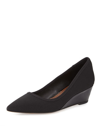 Heidy Low-Wedge Suede Pump, Black