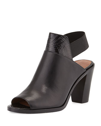 Khloe Leather Slingback Bootie, Black