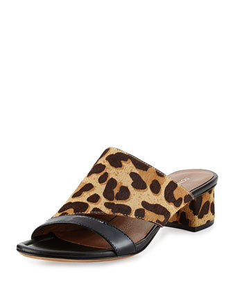 Monaco Leopard-Print Calf Hair Slide Sandal