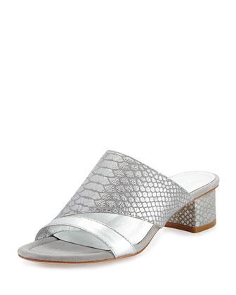 Monaco Snake-Print Slide Sandal, Silver